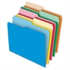 "Pendaflex 1/2-cut Tab Reversible File Folders - Letter - 8 1/2"" x 11"" Sheet Size - 1/2 Tab Cut - 11 pt. Folder Thickness - Stock - Assorted - 100 / Box"
