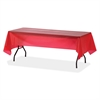 "Genuine Joe Plastic Rectangular Table Covers - 108"" Length x 54"" Width - 24 / Carton - Plastic - Red"