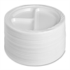 "Genuine Joe 3-Section Reusable Divided Plates - 125 / Pack - 9"" Diameter Plate - Plastic - Disposable - White - 500 Piece(s) / Carton"