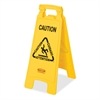 "Rubbermaid Commercial Multi-Lingual Caution Floor Sign - 6 / Carton - Caution, Cuidado, Attention Print/Message - 11"" Width x 25"" Height - Rectangular Shape - Lightweight, Double-sided, Foldable, Flex"