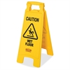 "Rubbermaid Commercial Caution Wet Floor Safety Sign - 6 / Carton - Caution Wet Floor Print/Message - 11"" Width x 25"" Height - Rectangular Shape - Red, Black Print/Message Color - Lightweight, Double-s"
