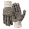 Poly/Cotton Large Work Gloves - Dirt, Debris Protection - Large Size - Poly Cotton, Polyvinyl Chloride (PVC) Dot - White - Ambidextrous, Elastic Wrist, Knit Wrist - 2 / Pair