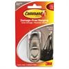 Command Adhesive Metal Hooks - 1 Medium Hook - 3 lb (1.36 kg) Capacity - Metal - Nickel - 1 Pack