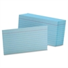 "Ruled Index Card - Printed - Front Ruling Surface - Ruled - 90 lb Basis Weight - 3"" x 5"" - Blue Paper - 100 / Pack"