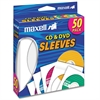 Maxell CD-400 CD/DVD Sleeves (50-Pack) - Sleeve - Slide Insert - White