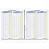 Monthly Bookkeeping Record - Spiral Bound - White Sheet(s) - Blue, Yellow Print Color - 1 Each