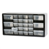 "26-Drawer Plastic Storage Cabinet - 26 Compartment(s) - 10.3"" Height x 20"" Width x 6.4"" Depth - Wall Mountable - Black - Polymer, Plastic - 1Each"