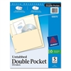 "Avery Untabbed Double Pocket Divider - 2 x Pockets Capacity - For Letter 8.50"" x 11"" Sheet - Ring Binder - Rectangular - Buff - 5 / Pack"