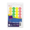 "Print or Write Round Color Coding Label - Removable Adhesive - 0.75"" Diameter - Circle - Laser - Assorted - 1008 / Pack"