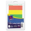 "Print or Write Color Coding Label - Removable Adhesive - 1"" Width x 3"" Length - Rectangle - Laser - Assorted - 200 / Pack"