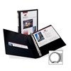 "Avery Economy Showcase Round Ring View Binders - 1"" Binder Capacity - Letter - 8 1/2"" x 11"" Sheet Size - 175 Sheet Capacity - Ring Fastener - 2 Internal Pocket(s) - Black - Recycled - 1 Each"