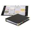 "Sewn Vinyl Business Card File Binder - 200 Capacity - 11"" Length x 8.50"" Width - 3-ring Binding - Refillable - Black Vinyl Cover"
