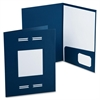 "Oxford LaserView Imperial Bus Single Pkt Folders - Letter - 8 1/2"" x 11"" Sheet Size - 2 Pocket(s) - Blue - 10 / Pack"