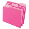 "Two-Tone Color File Folder - Letter - 8 1/2"" x 11"" Sheet Size - 1/3 Tab Cut - Assorted Position Tab Location - 11 pt. Folder Thickness - Pink - 100 / Box"