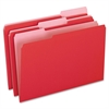 "Two-Tone Color File Folder - Legal - 8 1/2"" x 14"" Sheet Size - 1/3 Tab Cut - Assorted Position Tab Location - 11 pt. Folder Thickness - Red - 100 / Box"