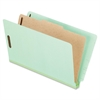 "Pressboard Classification Folder with Divider - Legal - 8 1/2"" x 14"" Sheet Size - 2"" Fastener Capacity for Folder - 1 Divider(s) - 25 pt. Folder Thickness - Pressboard - Light Green - 10 / B"