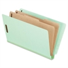 "Pendaflex Pressbrd End Tab Classification Folders - Legal - 8 1/2"" x 14"" Sheet Size - 2"" Fastener Capacity for Folder - 2 Divider(s) - 25 pt. Folder Thickness - Pressboard - Light Green - 10 / Box"