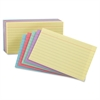 "Ruled Index Cards - 5"" x 8"" - 10% Recycled Content - 100 / Pack - Cherry, Blue, Green, Canary, Violet"