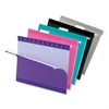 "Color Hanging Folder - Letter - 8 1/2"" x 11"" Sheet Size - 1/5 Tab Cut - Aqua, Pink, Black, Gray, Violet - 25 / Box"