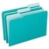 "Pendaflex 1/3-cut Tab Color-coded Interior Folders - Letter - 8 1/2"" x 11"" Sheet Size - 1/3 Tab Cut - Assorted Position Tab Location - Aqua - 100 / Box"