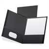 "Oxford Oxford Linen Twin Pocket Portfolio - Letter - 8 1/2"" x 11"" Sheet Size - 2 Internal Pocket(s) - Linen - Black - 5 / Pack"