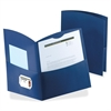 "Oxford Contour Two Pocket Folders - Letter - 8 1/2"" x 11"" Sheet Size - 150 Sheet Capacity - 2 Pocket(s) - Embossed Paper - Dark Blue - 25 / Box"