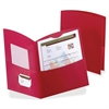 "Contour Two Pocket Folder - Letter - 8 1/2"" x 11"" Sheet Size - 150 Sheet Capacity - 2 Pocket(s) - Embossed Paper - Red - 25 / Box"