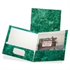 "Marble Laminated Twin Pocket Folders - Letter - 8 1/2"" x 11"" Sheet Size - 100 Sheet Capacity - 2 Internal Pocket(s) - Paperboard - Emerald Green - 25 / Box"
