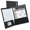 "Laminated Twin Pocket Folders - Letter - 8 1/2"" x 11"" Sheet Size - 2 Pocket(s) - Black - 25 / Box"