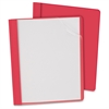 "Clear Front Report Cover - Letter - 8 1/2"" x 11"" Sheet Size - 100 Sheet Capacity - 3 x Tang Fastener(s) - 1/2"" Fastener Capacity for Folder - Leatherette - Red, Clear - Recycled - 25 / B"