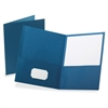"Oxford Twin Pocket Folders - Letter - 8 1/2"" x 11"" Sheet Size - 100 Sheet Capacity - 2 Internal Pocket(s) - Leatherette Paper - Blue - 25 / Box"