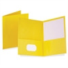 "Twin Pocket Folders - Letter - 8 1/2"" x 11"" Sheet Size - 100 Sheet Capacity - 2 Internal Pocket(s) - Leatherette Paper - Yellow - Recycled - 25 / Box"