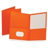 "Twin Pocket Folders - Letter - 8 1/2"" x 11"" Sheet Size - 100 Sheet Capacity - 2 Internal Pocket(s) - Leatherette Paper - Orange - Recycled - 25 / Box"