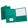"Twin Pocket Folders - Letter - 8 1/2"" x 11"" Sheet Size - 100 Sheet Capacity - 2 Internal Pocket(s) - Leatherette Paper - Teal - 25 / Box"