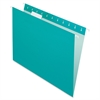 "Pendaflex Essentials Color Hanging Folders - Letter - 8 1/2"" x 11"" Sheet Size - 1/5 Tab Cut - Aqua - 25 / Box"