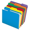 "Pendaflex Color Reinforced Top File Folders - Letter - 8 1/2"" x 11"" Sheet Size - 1/3 Tab Cut - Assorted Position Tab Location - 11 pt. Folder Thickness - Assorted - 100 / Box"