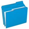 "Pendaflex File Folder - Letter - 8 1/2"" x 11"" Sheet Size - 1/3 Tab Cut - Assorted Position Tab Location - 11 pt. Folder Thickness - Blue - 100 / Box"