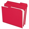 "Pendaflex Color Reinforced Top File Folders - Letter - 8 1/2"" x 11"" Sheet Size - 1/3 Tab Cut - Assorted Position Tab Location - 11 pt. Folder Thickness - Red - 100 / Box"