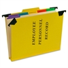 "Hanging Style Personnel Folder - 9.50"" x 11.75"" Sheet Size - 2"" Expansion - 1"" Fastener Capacity for Folder - 1/3 Tab Cut - 5 Divider(s) - 20 pt. Folder Thickness - Pressguard - Yellow - Rec"
