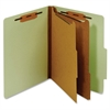 "Letter Classification Folder With Divider - Letter - 8 1/2"" x 11"" Sheet Size - 1"" Fastener Capacity for Folder - 2 Divider(s) - 25 pt. Folder Thickness - Pressboard - Green - 1 Each"