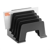 "OIC 5 Compartments Incline Sorter - 5 Compartment(s) - 6.1"" Height x 5.1"" Width x 8"" Depth - Desktop - Black - 1Each"