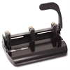 "Heavy-Duty Adjustable 2-3 Hole Punch - 3 Punch Head(s) - 32 Sheet Capacity - 9/32"" Punch Size - Black"