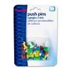 "OIC Plastic Precision Push Pins - 0.5"" Length x 0.3"" Diameter - 20 Pack - Assorted - Plastic, Steel"