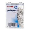 "OIC Plastic Precision Push Pins - 0.5"" Length x 0.3"" Diameter - 100 / Box - Clear - Plastic, Steel"