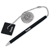 "PM Preventa Counter Pen With 24"" Ball Chain - Black - Black Barrel - 1 Each"