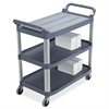 "Rubbermaid 3-Shelf Mobile Utility Cart - 3 Shelf - 300 lb Capacity - 4"" Caster Size - Aluminum - 40.6"" Width x 20"" Depth x 37.8"" Height - Aluminum Frame - Gray"
