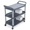 "3-Shelf Mobile Utility Cart - 3 Shelf - 300 lb Capacity - 4"" Caster Size - Aluminum - 40.6"" Width x 20"" Depth x 37.8"" Height - Aluminum Frame - Gray"