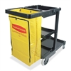 "Rubbermaid Janitor Cart With Zipper Yellow Vinyl Bag - 3 Shelf - 4"", 8"" Caster Size - 21.8"" Width x 46"" Depth x 38.4"" Height - Black"