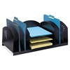 "Safco Desktop Organizer - 9 Compartment(s) - 8.3"" Height x 22.3"" Width x 11.3"" Depth - Desktop - Black - Steel - 1Each"
