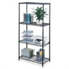 "Safco Industrial Wire Shelving - 36"" x 18"" x 72"" - 4 x Shelf(ves) - Rust Proof, Leveling Glide, Adjustable Leveler, Adjustable Feet, Dust Proof - Black - Powder Coated - Steel, Plastic - Assembly Requ"